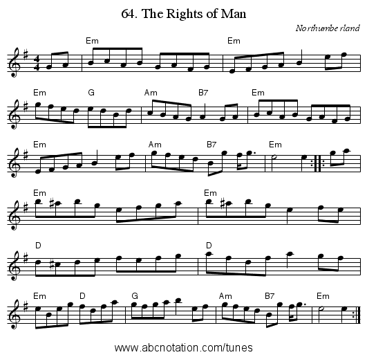 64. The Rights of Man - staff notation