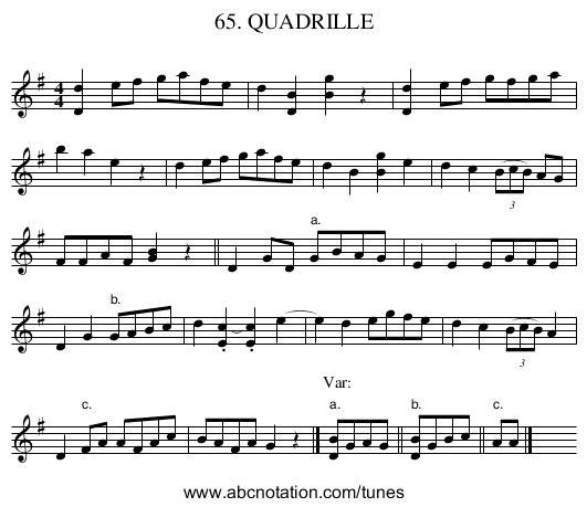 65. QUADRILLE - staff notation