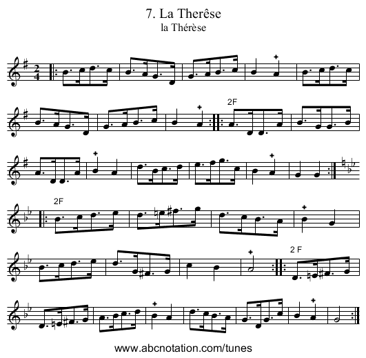 7. La Therêse - staff notation