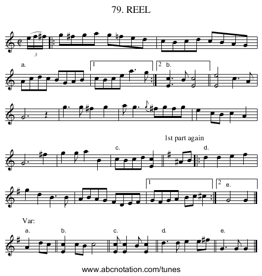 79. REEL - staff notation