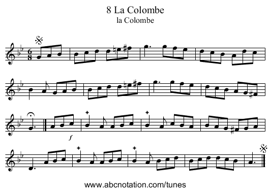 8 La Colombe - staff notation