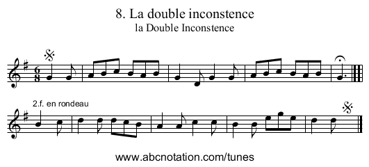 8. La double inconstence - staff notation