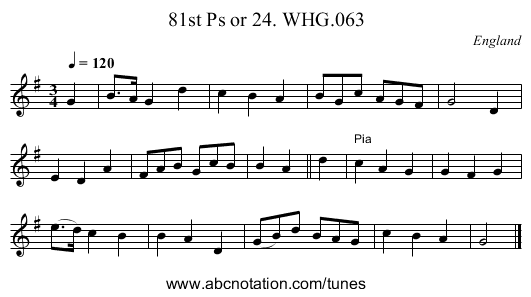 81st Ps or 24. WHG.063 - staff notation