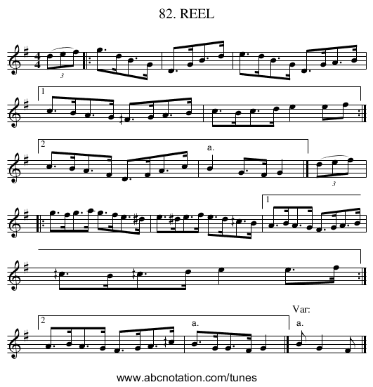 82. REEL - staff notation