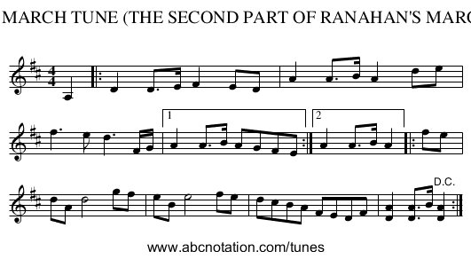 91. MARCH TUNE (THE SECOND PART OF RANAHAN'S MARCH) - staff notation