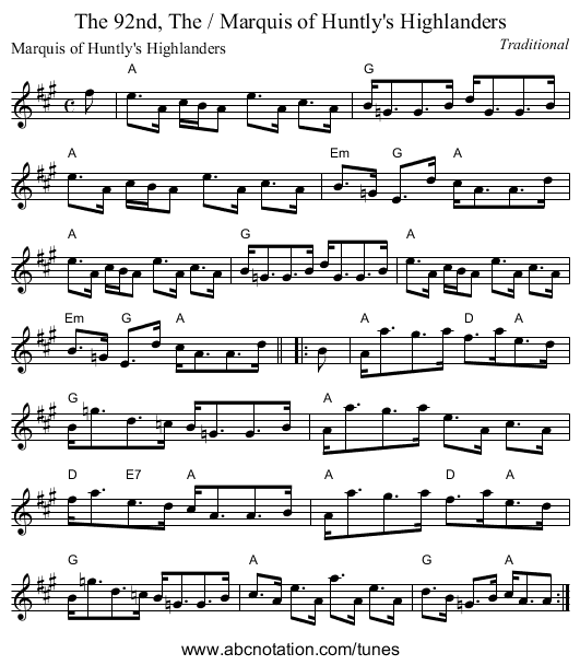 92nd, The / Marquis of Huntly's Highlanders, The - staff notation