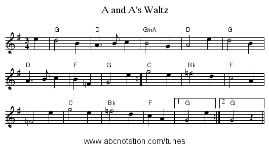 A and A's Waltz - staff notation