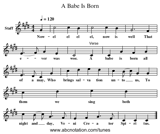 A Babe Is Born - staff notation