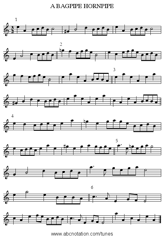 A BAGPIPE HORNPIPE - staff notation