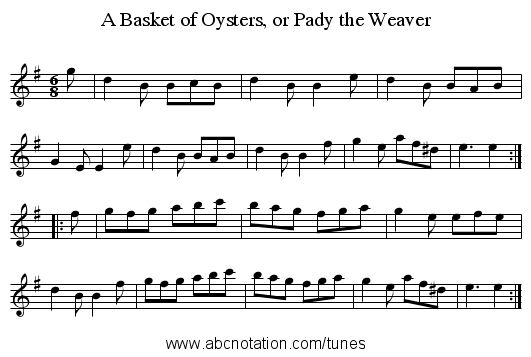 A Basket of Oysters, or Pady the Weaver - staff notation