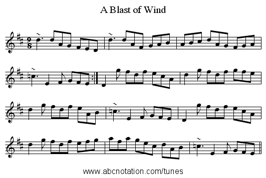 A Blast of Wind - staff notation