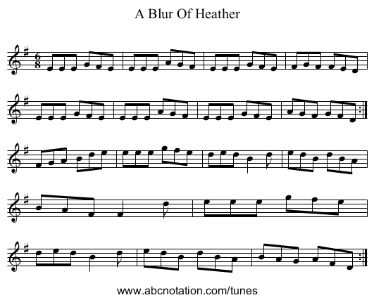 A Blur Of Heather - staff notation