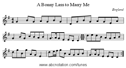 A Bonny Lass to Marry Me - staff notation