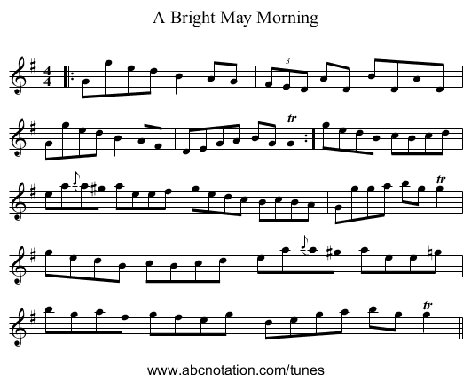 A Bright May Morning - staff notation