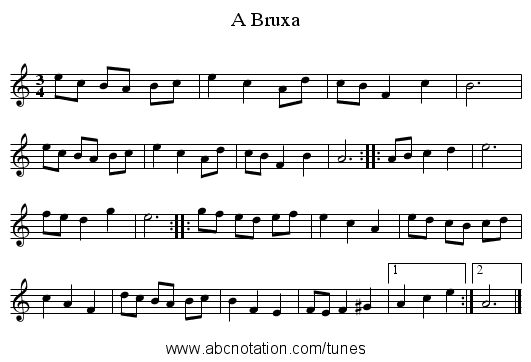A Bruxa - staff notation