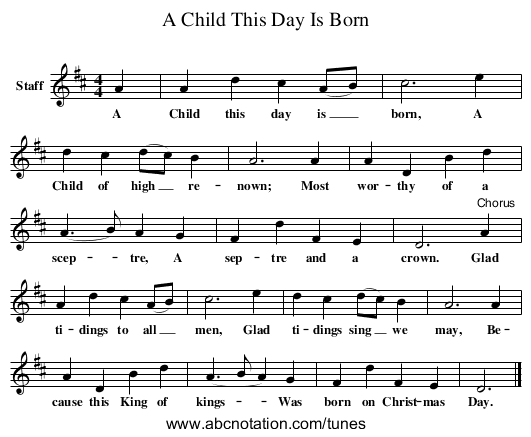 A Child This Day Is Born - staff notation