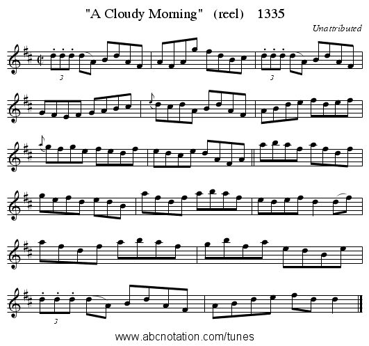 A Cloudy Morning   (reel)    1335 - staff notation