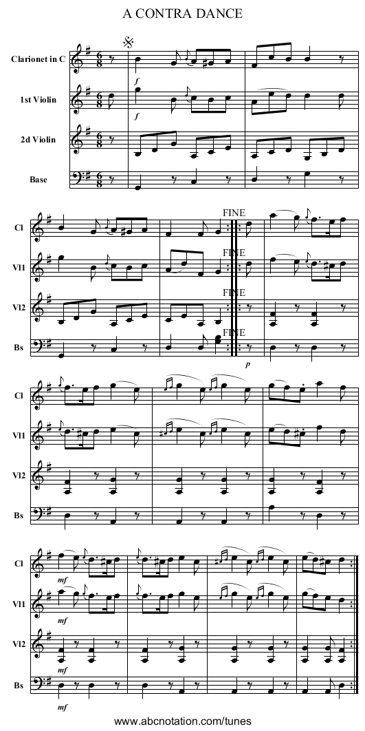 A CONTRA DANCE - staff notation