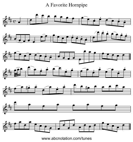 A Favorite Hornpipe - staff notation