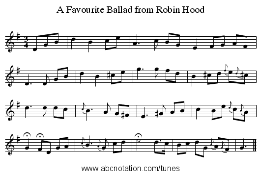 A Favourite Ballad from Robin Hood - staff notation