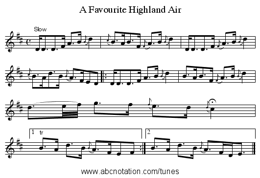A Favourite Highland Air - staff notation