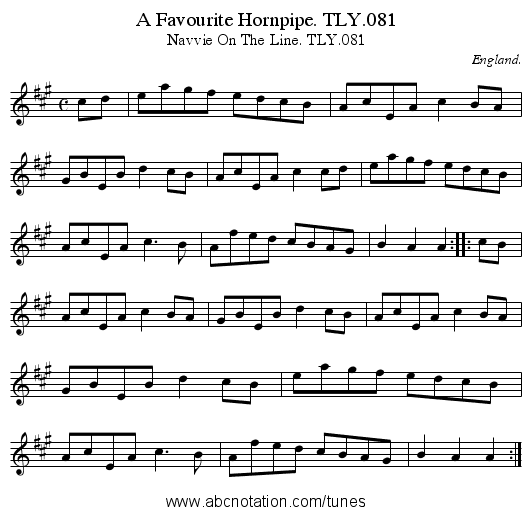 A Favourite Hornpipe. TLY.081 - staff notation