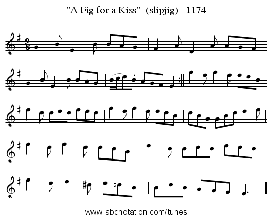 A Fig for a Kiss  (slipjig)   1174 - staff notation