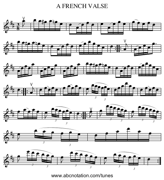 A FRENCH VALSE - staff notation