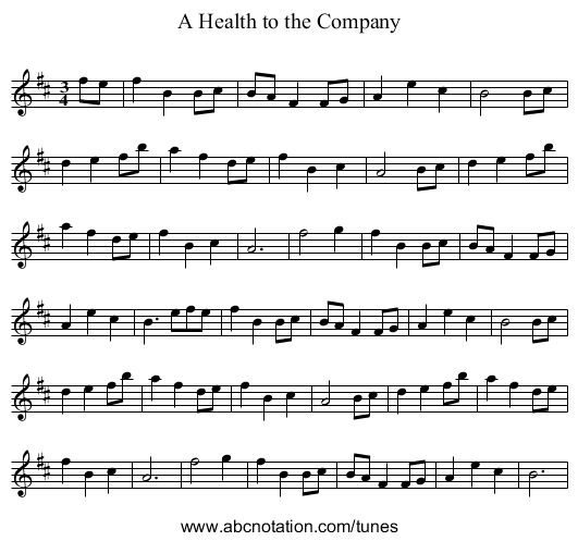 A Health to the Company - staff notation