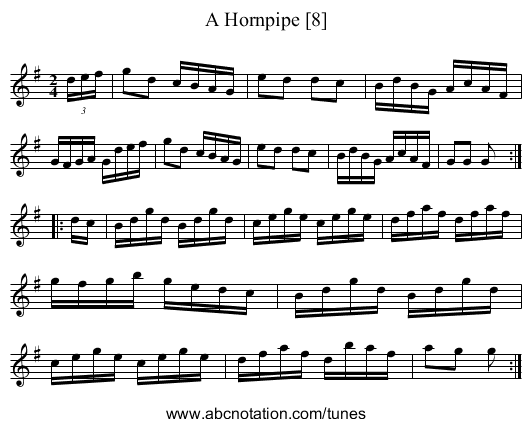 A Hornpipe - staff notation