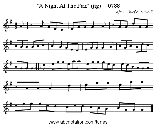 A Night At The Fair (jig)     0788 - staff notation
