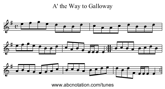 A' the Way to Galloway - staff notation
