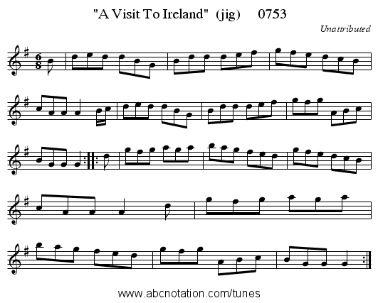 A Visit To Ireland  (jig)     0753 - staff notation