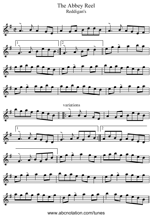 Abbey Reel, The - staff notation