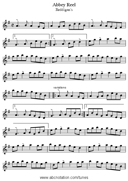 Abbey Reel - staff notation