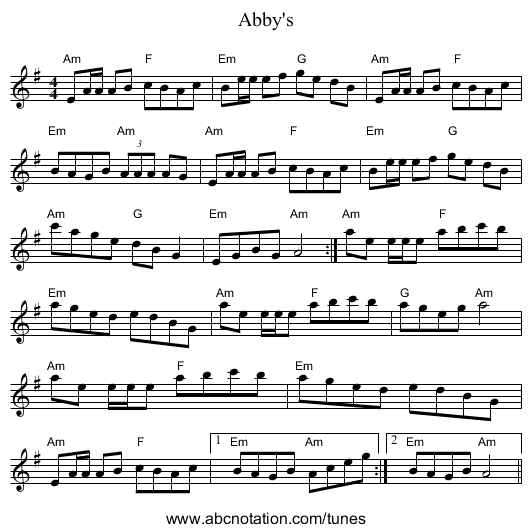 Abby's - staff notation