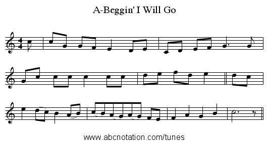 A-Beggin' I Will Go - staff notation