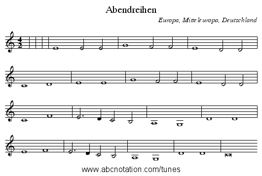 Abendreihen - staff notation