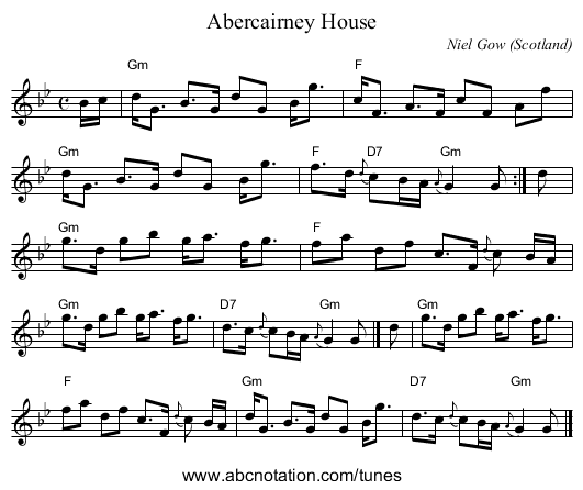 Abercairney House - staff notation