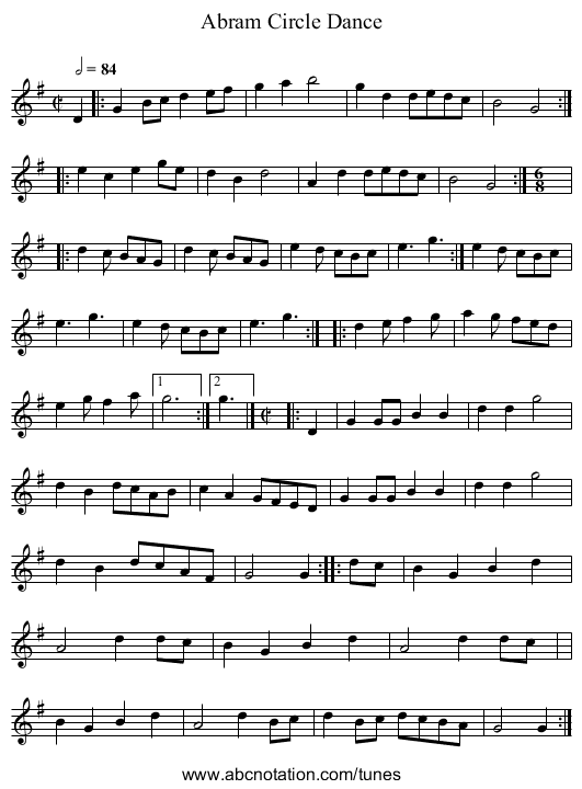 Abram Circle Dance - staff notation