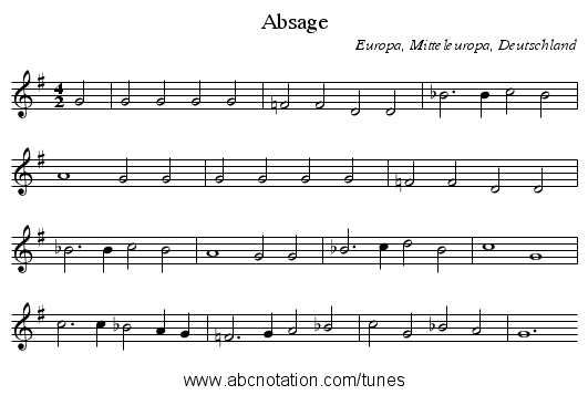 Absage - staff notation