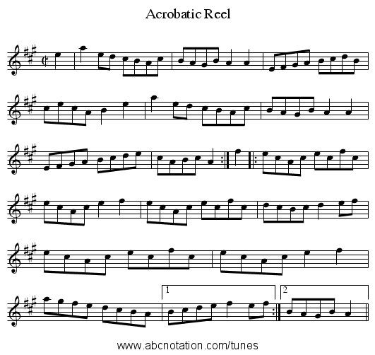 Acrobatic Reel - staff notation