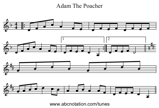 Adam The Poacher - staff notation