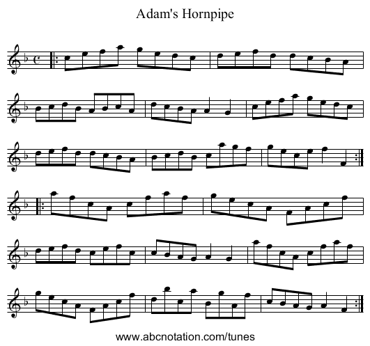 Adam's Hornpipe - staff notation