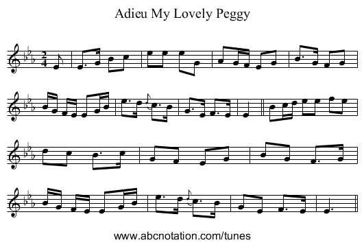 Adieu My Lovely Peggy - staff notation