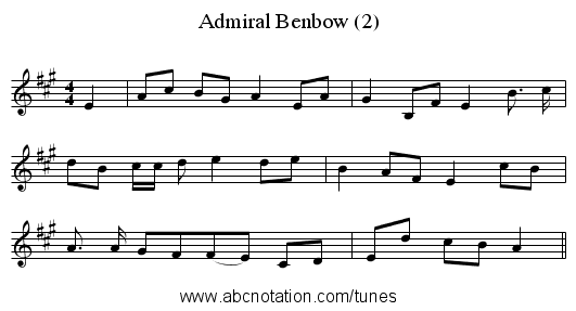 Admiral Benbow (2) - staff notation