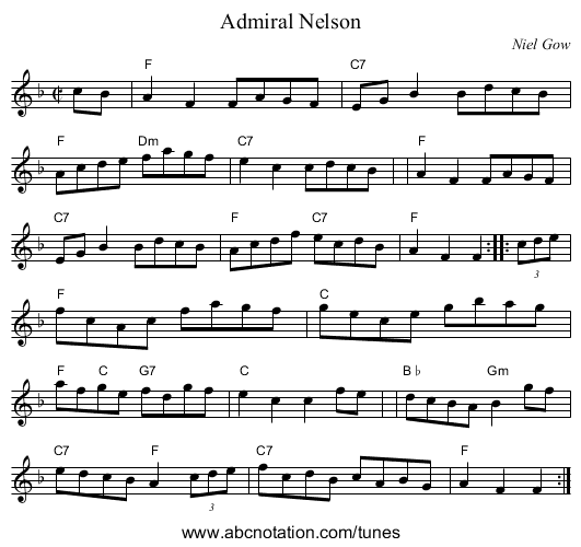 Admiral Nelson - staff notation