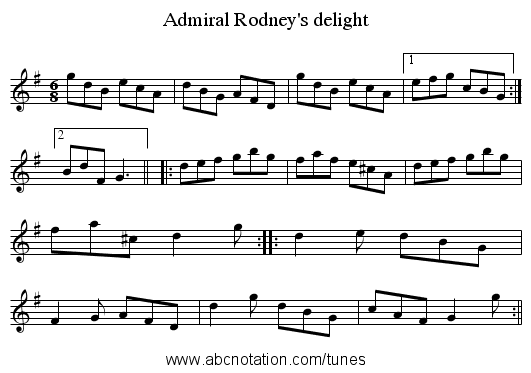 Admiral Rodney's delight - staff notation