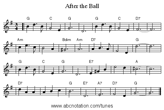After the Ball - staff notation