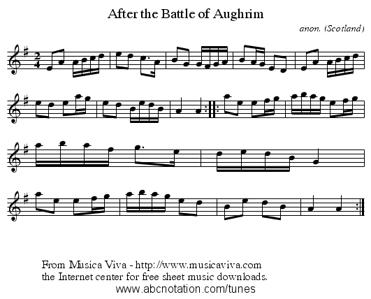 After the Battle of Aughrim - staff notation